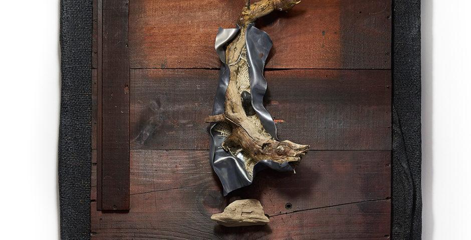 Beachcomber 2018 - SOLD^ 60cm x 60 cm I wood - burlap - deadwood and lead <br> SOLD I VERKOCHT