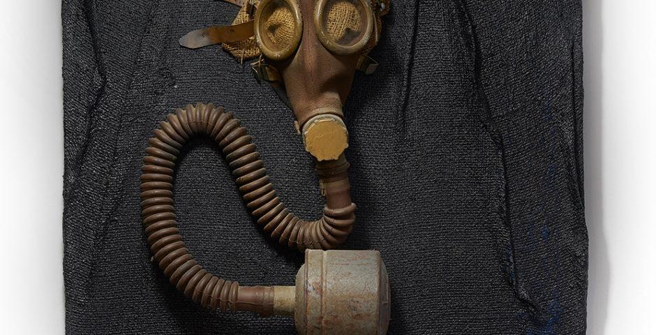l 'Oxygene pour les pauvres d'esprit 2001 ^ 60 cm x 60 cm wood - burlap <br> Price 750 € (VAT included)