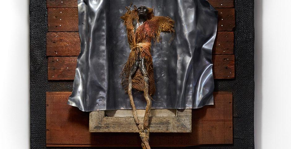 The Nightwalker 2019 ^ 60 cm x 60 cm deadwood - burlap - clay - lead <br> Price 850 € (VAT included)